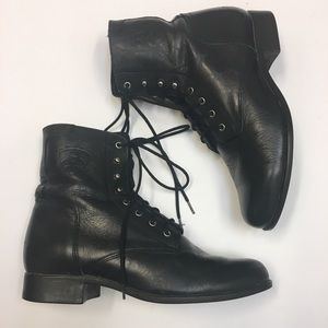 Ariat women's lace up black leather boots